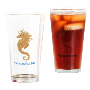 Personalized Drinking Glass - Seahorse