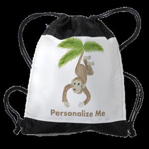 Personalized Monkey Drawstring Bag